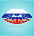 russia flag lipstick on the lips isolated on a vector image