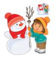 small girl mold snowman vector image
