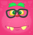 smart pink monster face for t-shirt vector image