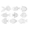 Tropical Fish Set Adult Zentangle Coloring Book vector image