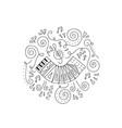 doodle accordion coloring page vector image