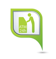 atm icon on green map pointer2 vector image vector image