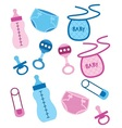 Baby items for girls and boys vector image