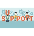 Three chinese men standing in the word support vector image