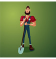 farmer with a showel isolated cartoon character vector image
