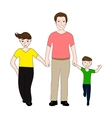 Happy dad holding small and large arm sons vector image