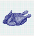 roasted chicken blue sketch on notebook sheet vector image
