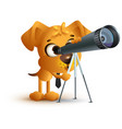yellow fun dog teacher looking through telescope vector image