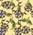 Yellow hand drawn floral seamless pattern vector image