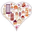 Heart pattern with different houses and trees vector image vector image