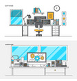 Flat line color concept- software and hardware vector image