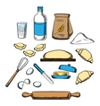 Cooking process of kneading dough vector image vector image