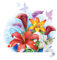 Bouquet of color Lilies and Calla vector image
