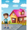 A boy football and house vector image