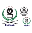 Billiard or pool badges or emblems vector image