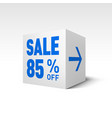 cube banner template eighty-five percent off vector image