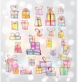 doodle christmas gift boxes vector image