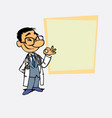 happy asian doctor makes the gesture of ok is vector image
