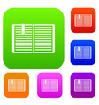 open book with a bookmark set collection vector image