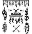 Tribal Feathers and decorative elements vector image