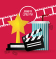 going to cinema film clapper strip award soda with vector image
