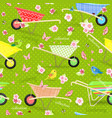 retro seamless texture with cute garden vector image