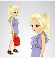 girl hilds stylish red backpack vector image