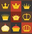 crown flat design set 2 vector image