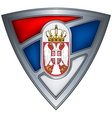 steel shield with flag serbia vector image