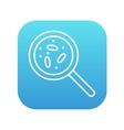 Microorganisms under magnifier line icon vector image
