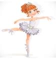 Beautiful little ballerina girl in white dress vector image