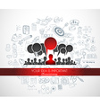Braistorming concept with Doodle design style vector image