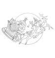 Christmas sleigh with reindeers coloring vector image