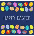 Colored Easter egg set Frame Blue background Flat vector image