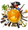Pirate Globe Concept vector image