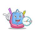 with clock school bag character cartoon vector image