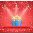 Red Presentation platform and gift box vector image