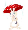 Bunny under umbrella vector image