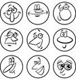 characters faces cartoon set vector image