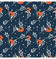 Bullfinch and berberry branch seamless pattern vector image vector image