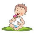 boy eating ice cream vector image