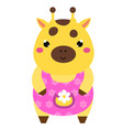 cute giraffe in pink dress cartoon kawaii animal vector image