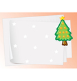 paper sheets and christmas tree vector image