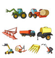 set of pictures about agricultural machinery cars vector image