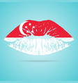 singapore flag lipstick on the lips isolated on a vector image