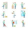 smiling househusbands washing cooking cleaning vector image