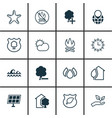 set of 16 eco icons includes sun power house vector image
