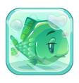cartoon green fish behind the glass vector image