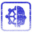 intellect framed textured icon vector image