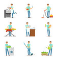 happy househusband men cleaning their house vector image